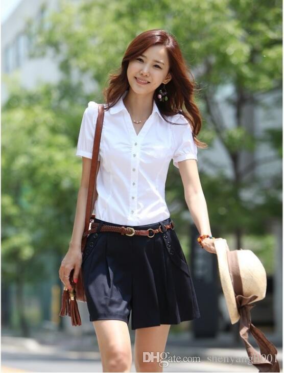 Summer white shirt women short sleeve professional work half sleeve is decoration body work shirt han fan women's dress large size women