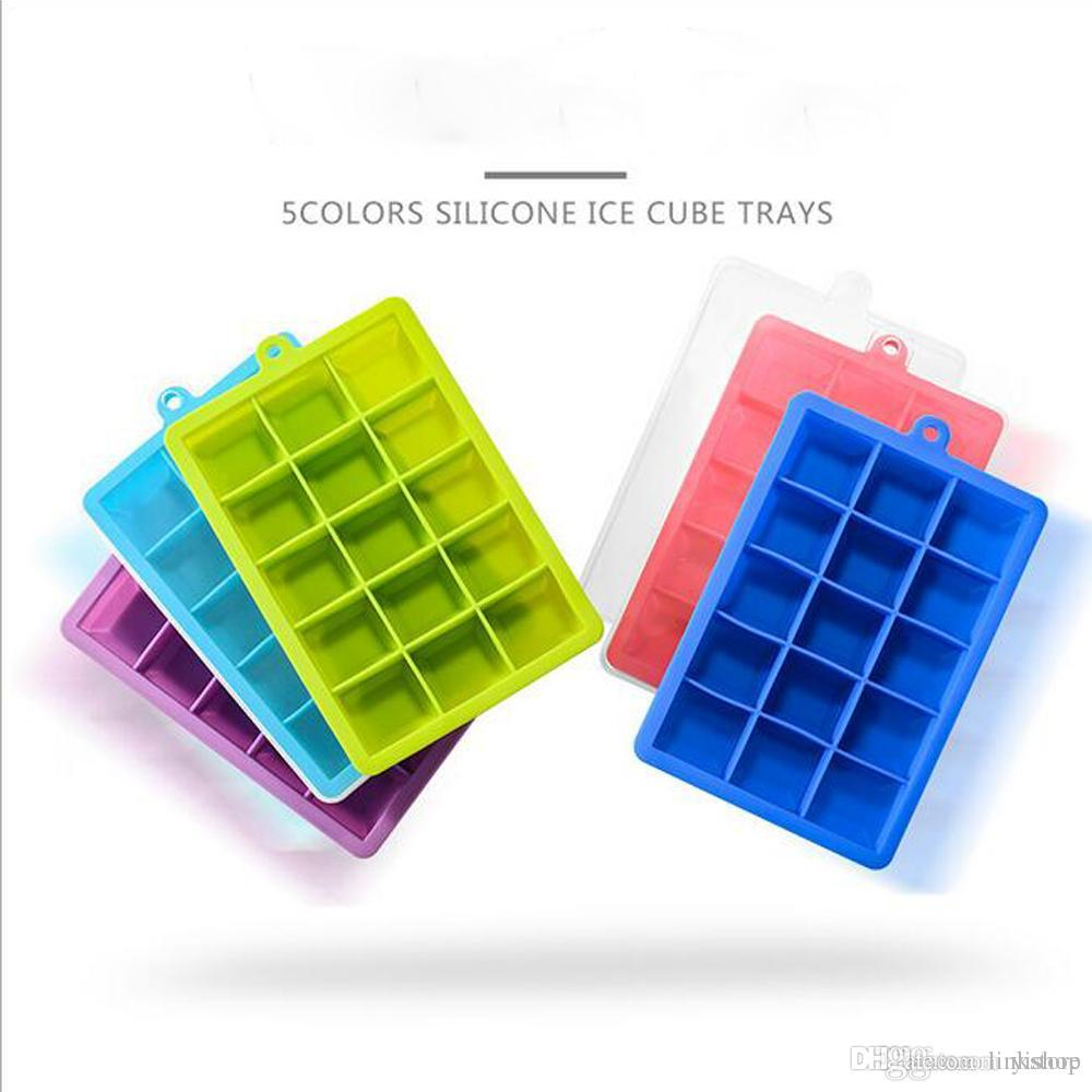 15 Lattice Square Silicone Ice Cubes Trays With Lids Ice Mold Great For DIY Fruit Mud Cheeses Jelly Mold Frozen Beer Whiskey Bar tool