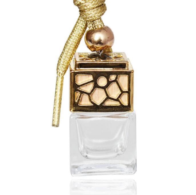 Botella de perfume Cubo Perfume Botellas de vidrio vacías Coche Colgante Ambientador Ornamento 5ML Fragancia Botellas de vidrio vacías 4 colores GGA1818