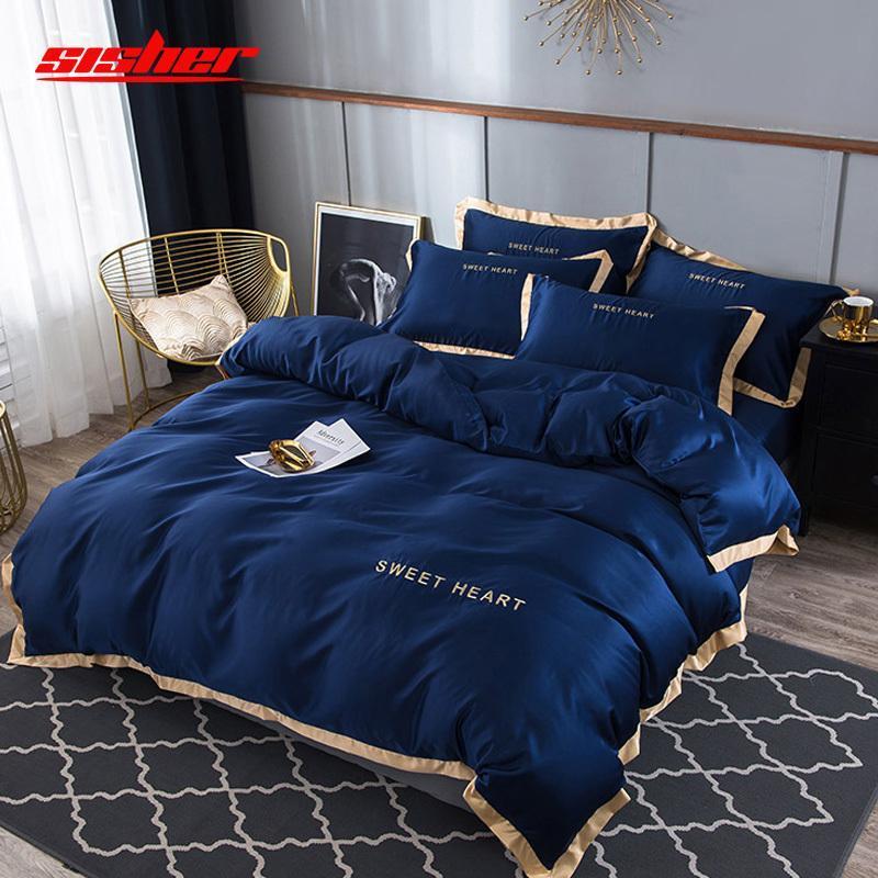 Sisher Luxo cama Set 4pcs cama plana Folha Breve edredon cobrir Define Rei confortável Quilt Covers Queen Size Roupa de cama Lençóis Y200111