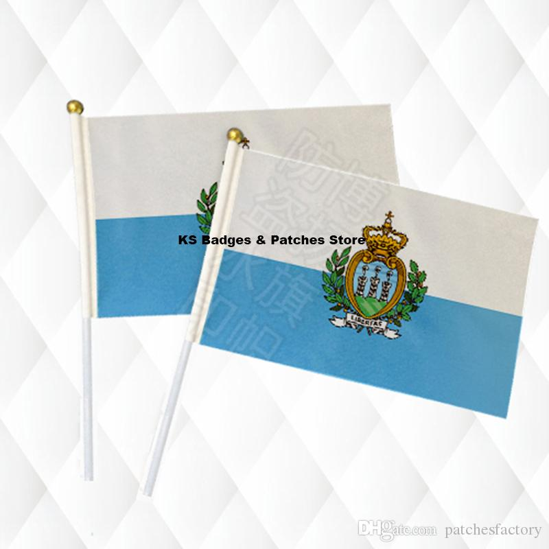 San Marino Flag Hand Held Stick Cloth Flags Safety Ball Top Hand National Flags 14*21CM 10pcs a lot