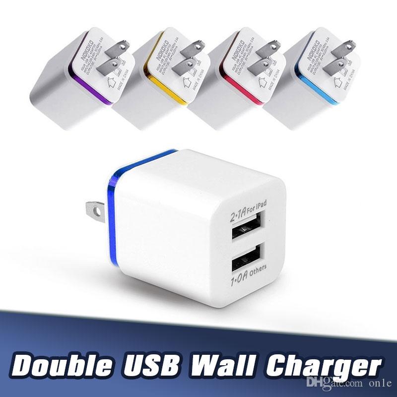 2.1A مزدوجة المنفذ USB محول الطاقة مكعب الاتحاد الأوروبي الولايات المتحدة التوصيل USB الجدار شاحن للهواتف اي فون الروبوت