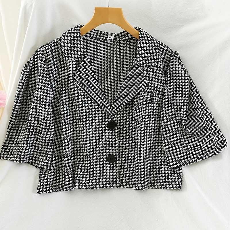 2020 летняя куртка с коротким рукавом Hound-tooth Jacket Coat WomenLoose Mini Sack blouson