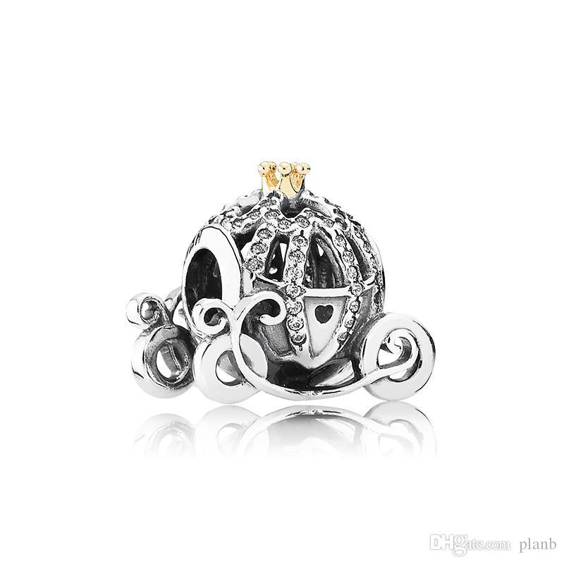 Auténtica plata esterlina 925 logotipo de Charms del coche de la calabaza Caja original para los encantos europeos de la pulsera de Pandora para la fabricación de joyas