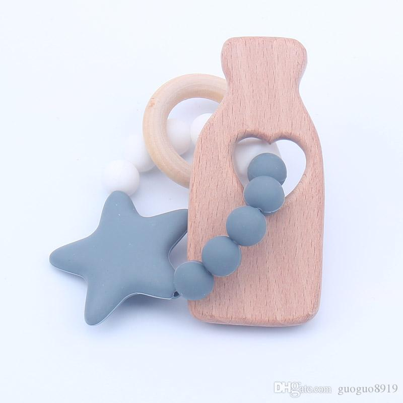 Newest Infant Silicone Star Chew Nursing Bracelet for Baby Wooden Teethers Baby Rattle Stroller Accessories Toys