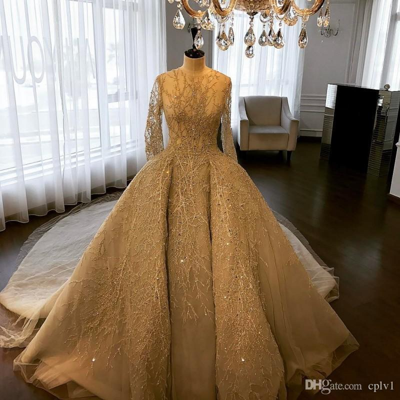 Vestido De Baile De luxo Vestidos De Casamento Jewel Pescoço Mangas Compridas Vestidos De Noiva Sweep Trem Frisado Vestido De Noiva Com Trem Destacável