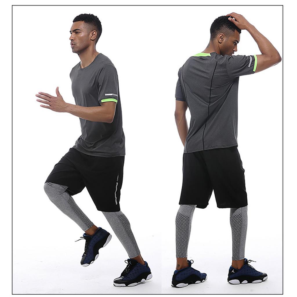 İnce Fit Koşu Erkekler Hızlı Kuru Tişörtler Koşu Gömlek Homme Tees Spor Erkekler Spor Salonu T Gömlek kas 2019 Tee Tops