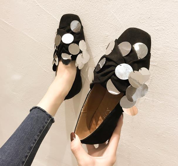 Квадратная голова одиночная обувь женское плоское дно 2020 осень новая мода дикий блесток божья коровка ленивая повседневная удобная шапочка обувь