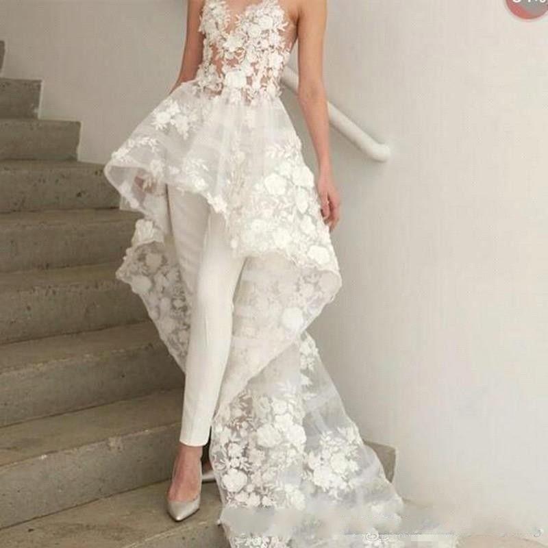 꽃 아플리케 웨딩 드레스를 설계 2019 아가의 목 여성 바지 정장 비치 신부의 복장 꽃과 정식 복장과 복도