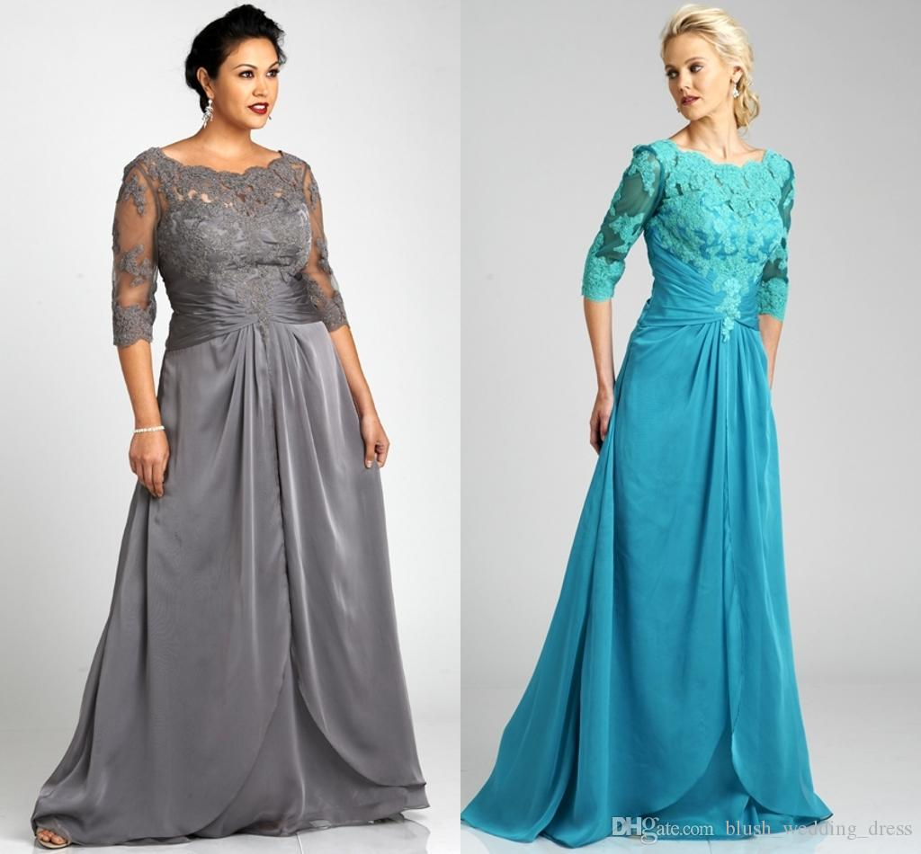 Popular Style Plus Size Gray Mother Of The Bride Dresses 3/4 Sleeve Scoop Neck Lace Chiffon Floor Length Formal Gowns Custom Made