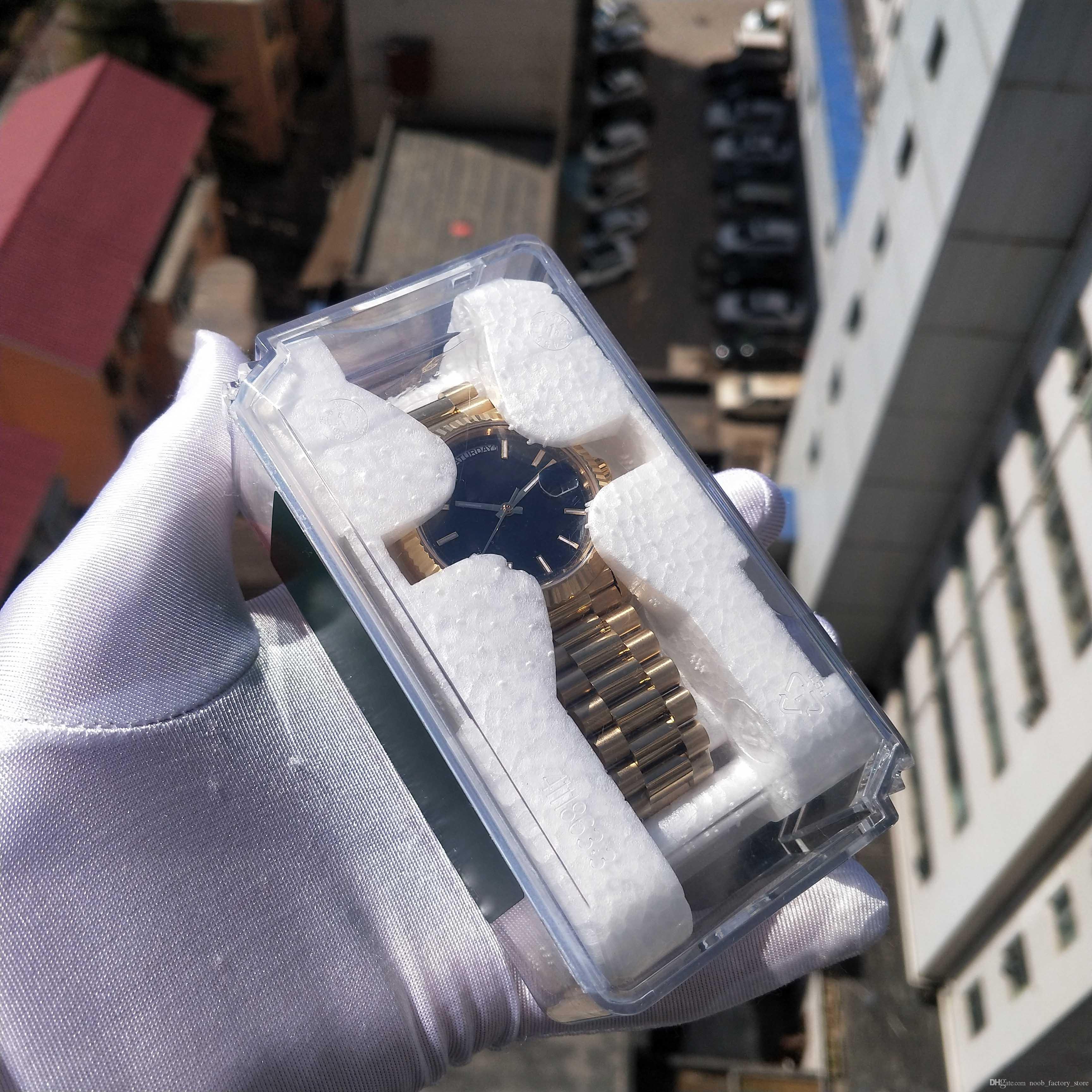 Versión de lujo de Super BP fábrica nuevo V2 PULSERA cuadrícula de 40 mm Dial de cristal de zafiro Movimiento automático Relojes para hombre con caja de plástico original