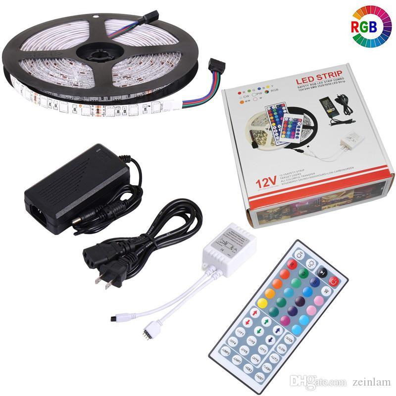 قطاع LED ضوء DC 12V مرنة الصمام الثنائي الشريط الشريط SMD 5050 RGB 24Key حدة 44Key مجموعة كاملة السلطة IP65 IP20 5M الإضاءة