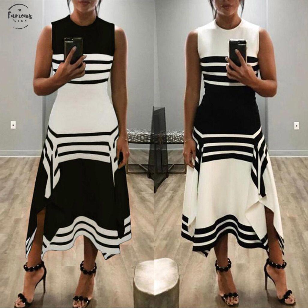 Mujeres raya sin mangas Vintage Casual Vestido cuello redondo verano negro blanco Midi elegante vestidos de fiesta fuera del hombro Vestido