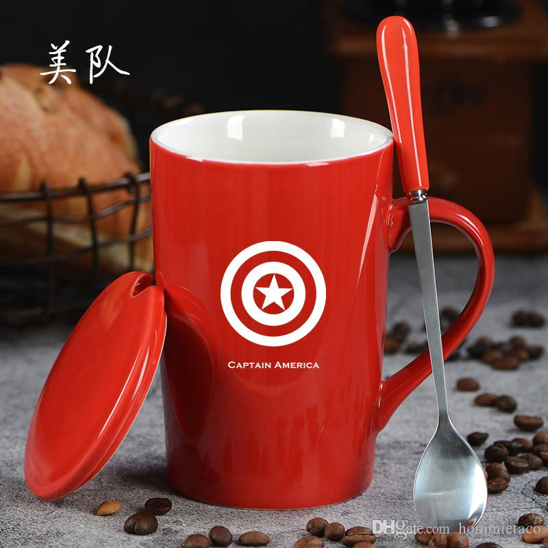 Cartoon Marvel/'s The Avengers Ceramic Coffee Mug With Cover Spoon Tea Cup 400ml
