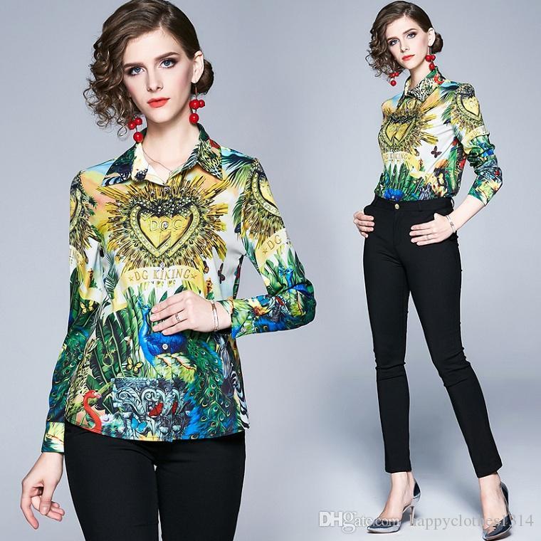 Роскошные модные печатные старинные рубашки плюс размер Женские с длинным рукавом отворотом шеи повседневные женские блузки тонкий взлетно-посадочной полосы офисные рубашки на пуговицах топы