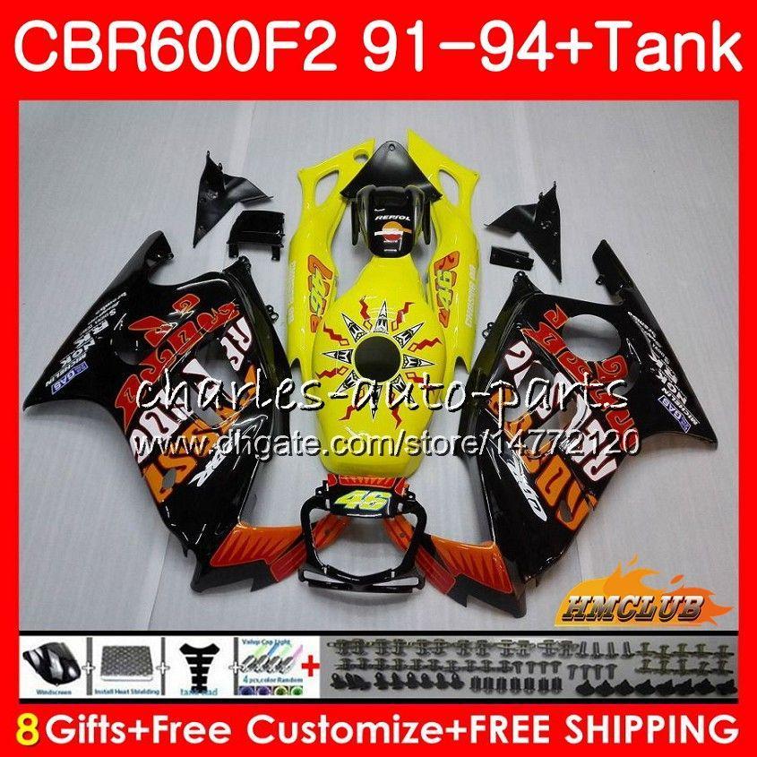 Body +Tank For HONDA CBR 600F2 Hot Repsol CBR600FS CBR 600 FS F2 91 92 93 94 40HC.42 600CC CBR600 F2 CBR600F2 1991 1992 1993 1994 Fairing