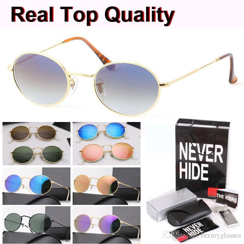 Marco de calidad superior Oval Gafas de sol Hombres Mujeres Brand Design Gafas de sol de metal lente de cristal con la caja original, paquetes, accesorios, todo!