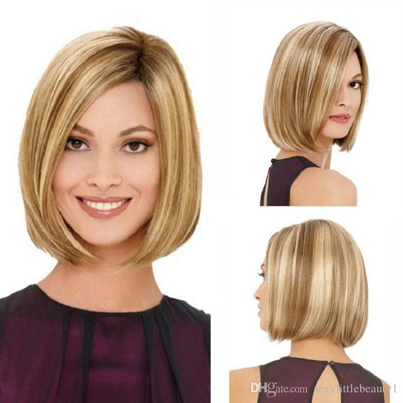 Women Synthetic Full Wigs Short Straight Bob Hairstyle Blonde HighLights Hair Wig Heat Resistant Free Shipping