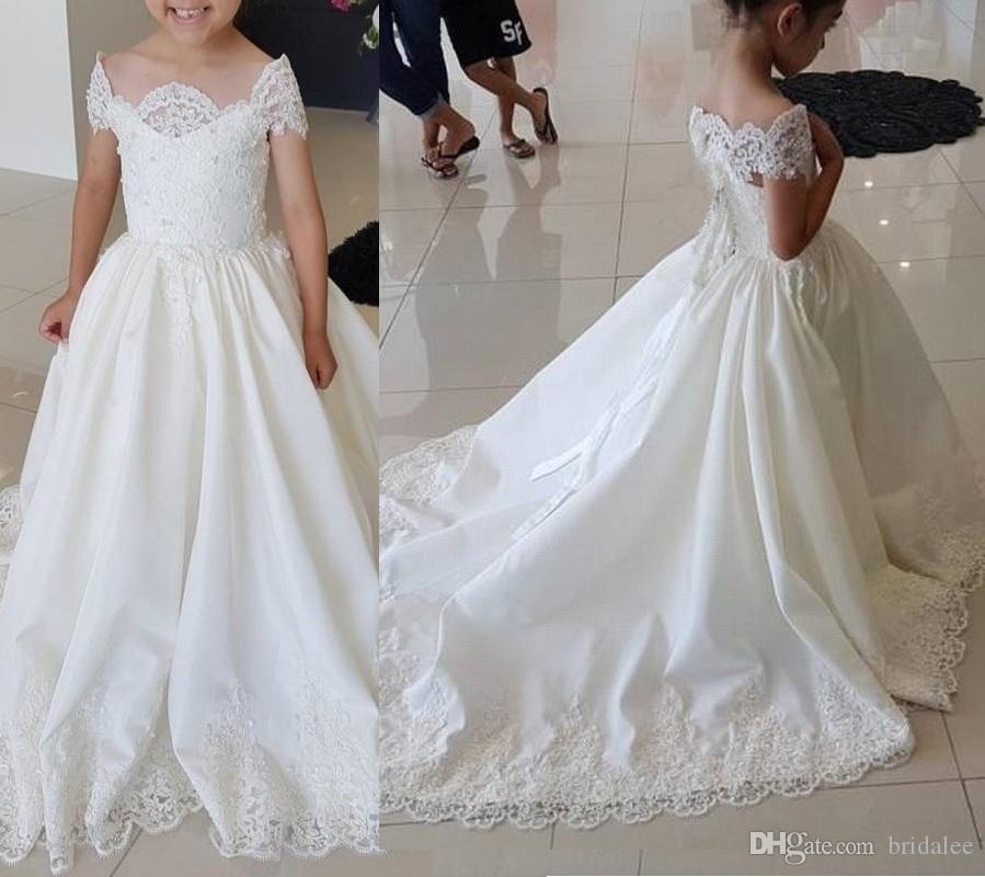 Bambini formali principessa abiti sveglio semplice Pizzo Abiti da sposa su misura per gli abiti di compleanno del manicotto della protezione Prima Comunione