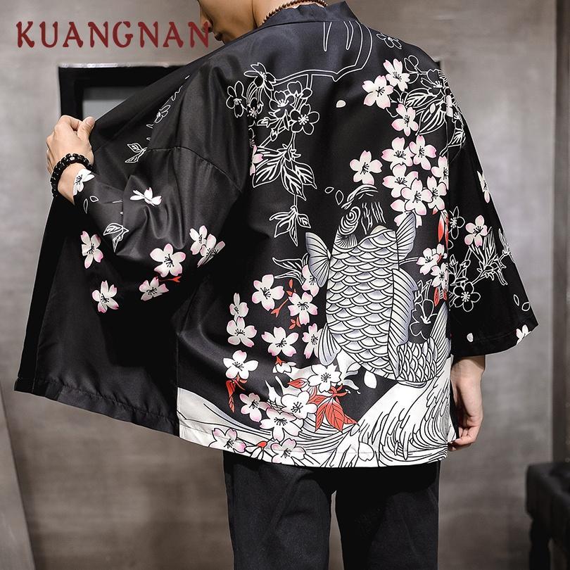 KUANGNAN Kiraz Sazan Baskı Kimono Erkekler Japon Kimono Hırka Harajuku Kimono Gömlek Erkekler Streetwear Hawaii Gömlek Erkekler 5XL