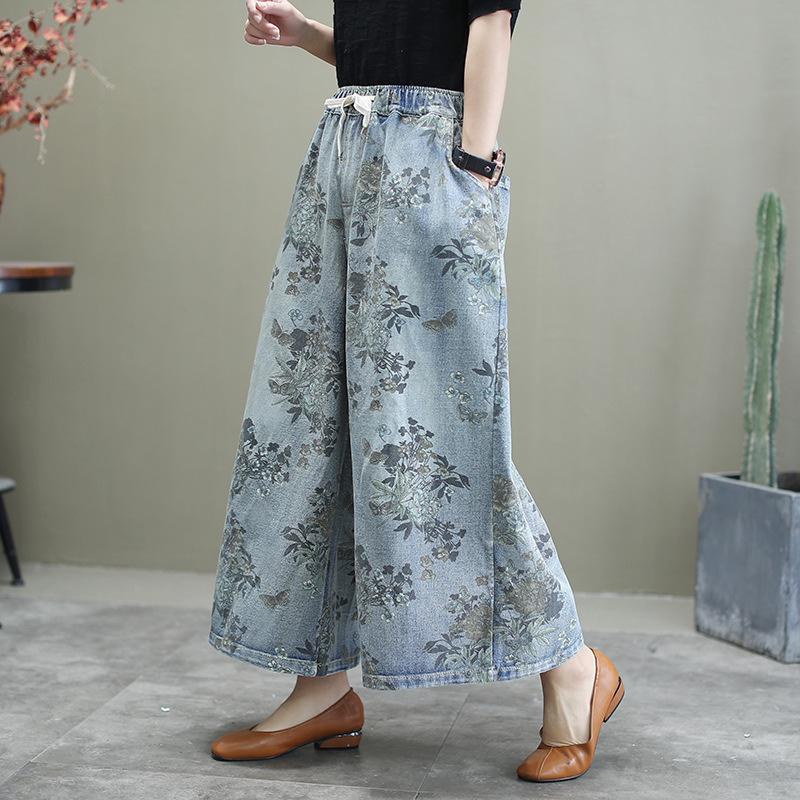 Plus Size Jeans Woman 2020 New Spring Autumn Ethnic Floral Print Elastic Waist Pocket Vintage Denim Wide Leg Pants Trousers