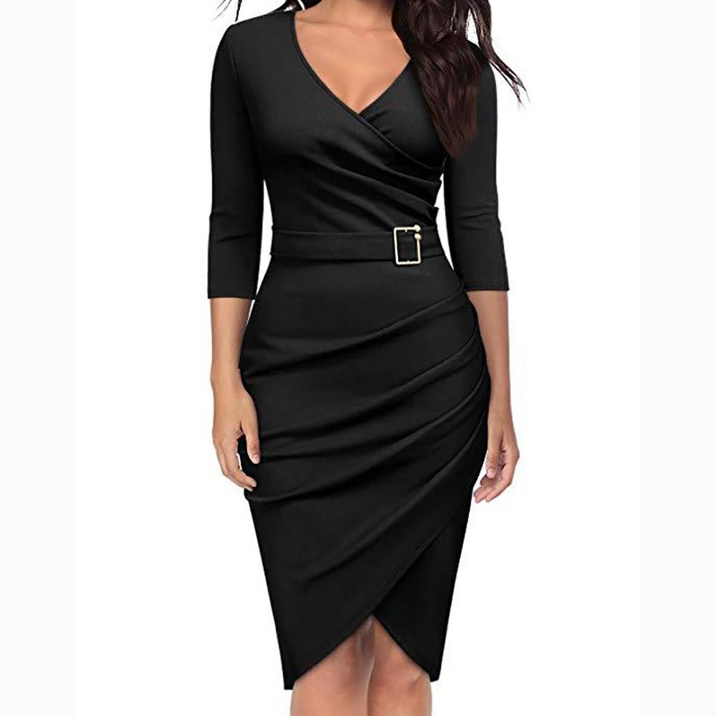 Modern Lady Office Work Dress Women Solid V Neck Three Quarter