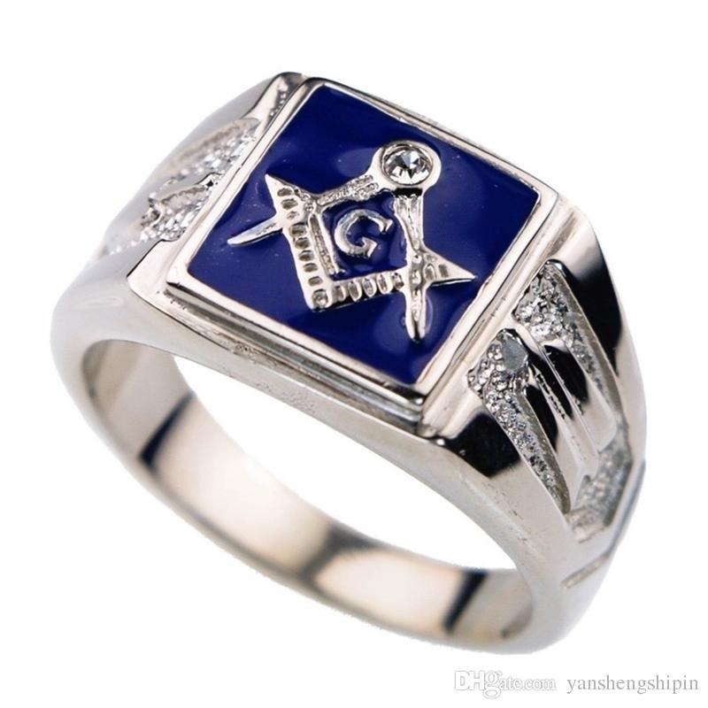 Vintage Moda erkek 316L Paslanmaz Çelik Masonik Yüzük Akik Diamond Lodge Mason Yüzük Boyutu 7-14