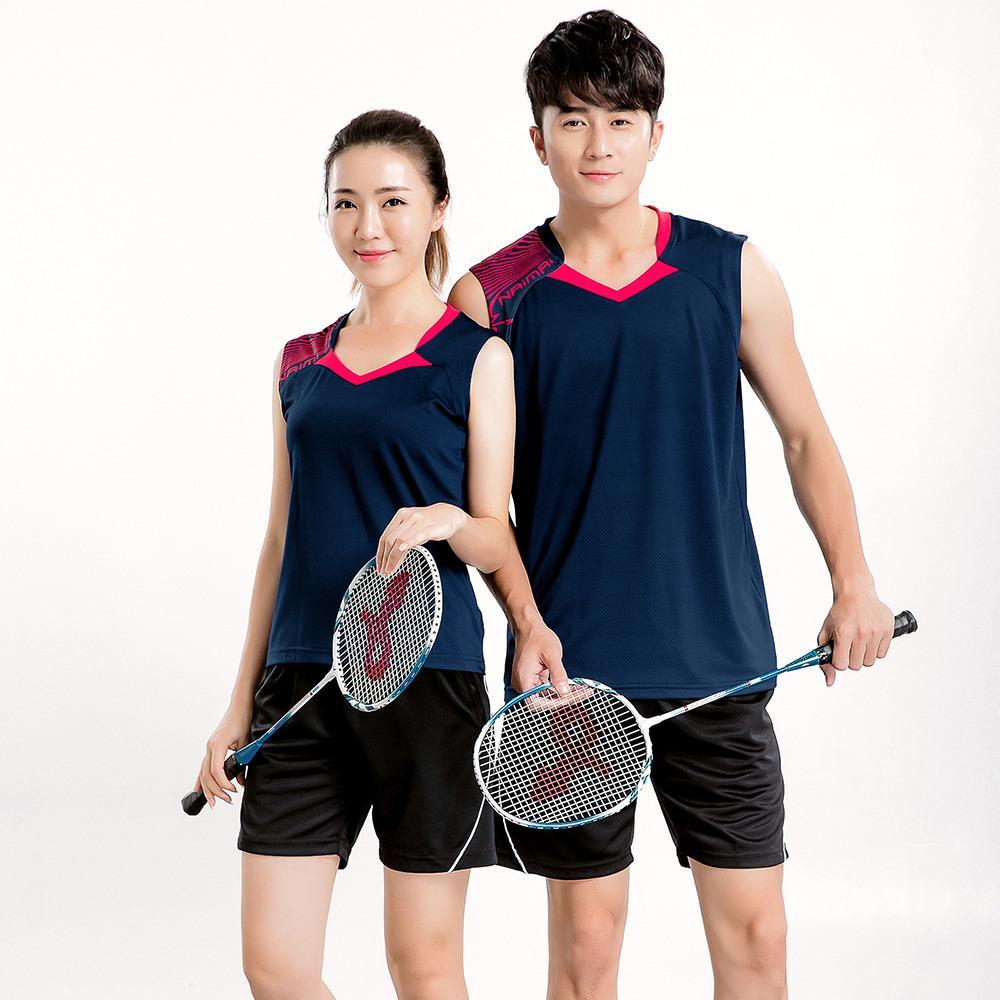 Novos conjuntos de Badminton dos homens, roupas de badminton esportes, desgaste de Tênis de mesa sem mangas desgaste Tênis camisa + shorts Azul 1 conjunto 5065