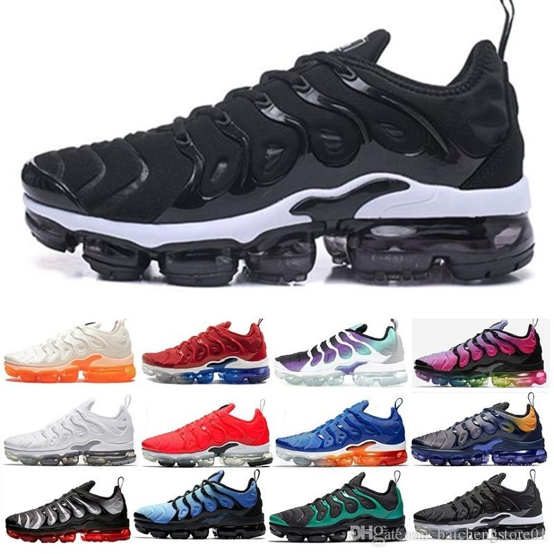 Air VaporMax Tn plus  أعلى جودة وسادة Tn Plus أسود ليزر قرمزي رجالي احذية الجري التدرجات الأزرق منتصف الليل البحرية Coquettish الأرجواني النساء أحذية رياضية المدربين حجم 36-45