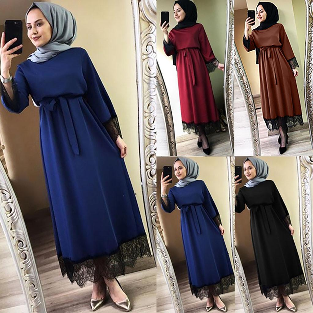 Women Muslim Long Robe Tunic Abaya Dubai caftan marocain Maxi Dress Turkish Kaftan islamic clothing Ramadan Arab Hijab Dress