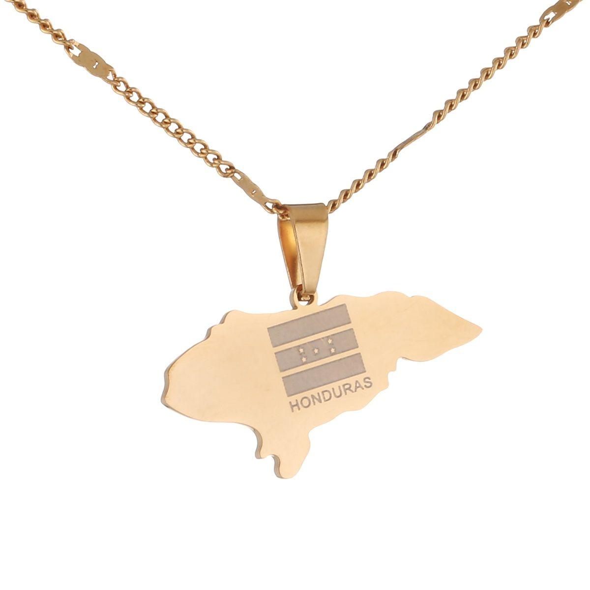 Acero inoxidable Tamaño Pequeño Honduras Mapa de los collares pendientes del encanto Mapas de joyería
