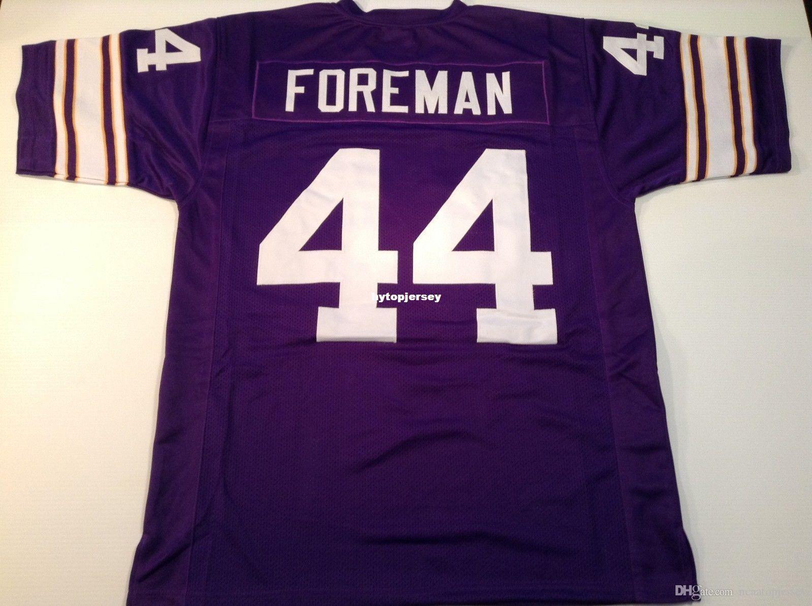 Cheap Retro custom Sewn Stitched #44 Chuck Foreman Purple MITCHELL & NESS Jersey High-end Men's Football Jerseys College NCAA
