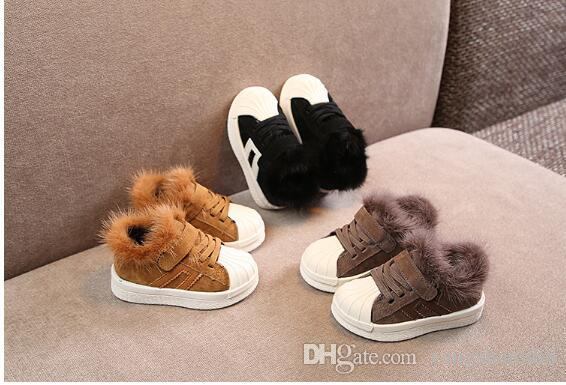 Explosion models winter leather small children black casual Korean version of the girl rabbit hair warm cotton shoes boys sports shoes