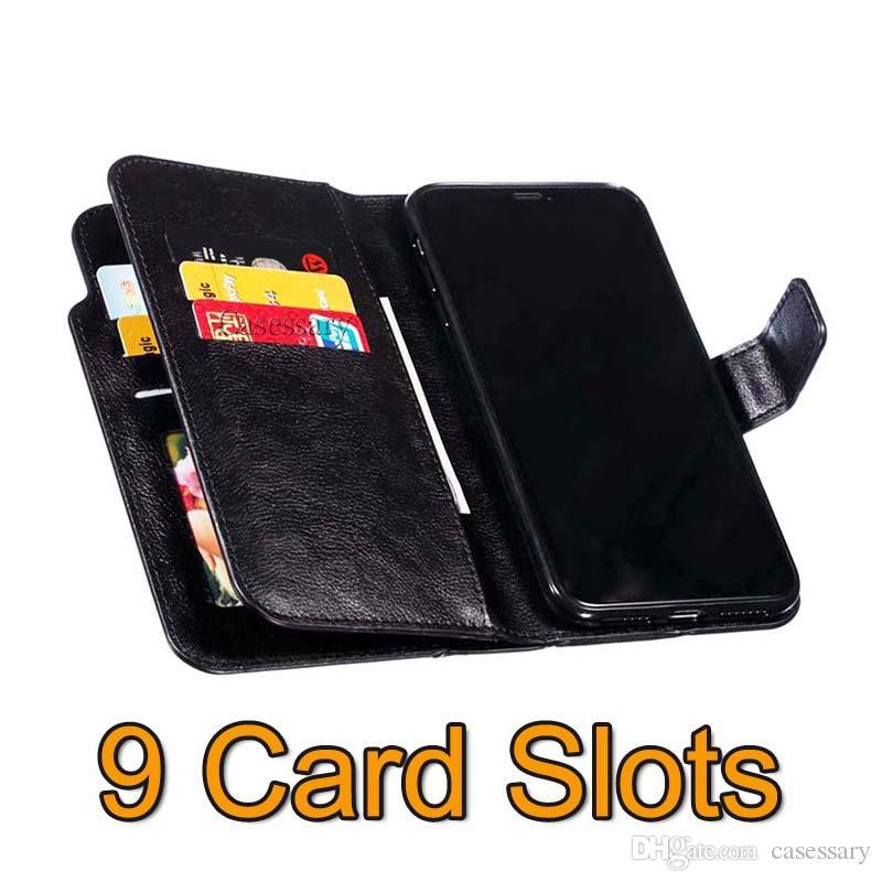 Carteira de luxo Caso Com 9 cartão Slots Made Of couro premium para o iPhone 11 Pro MAX XR XS Samsung S10 Nota 10 PLUS