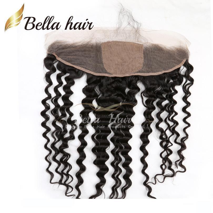 13 * 4 tiefere Wellen-Spitze-Stirnseite mit 4 * 4 Silk Base-Closure-brasilianischen Menschenhaarteilen natürlichen schwarze Farbe Haar-Verlängerungen Bella Haar