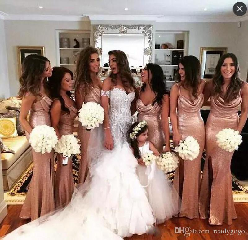 Sparkly Sequined Rose Gold Mermaid Side Split Bridesmaid Dresses Spaghetti Straps Sequins Maid Of Honor Dress Beach Cheap Wedding Party Gown