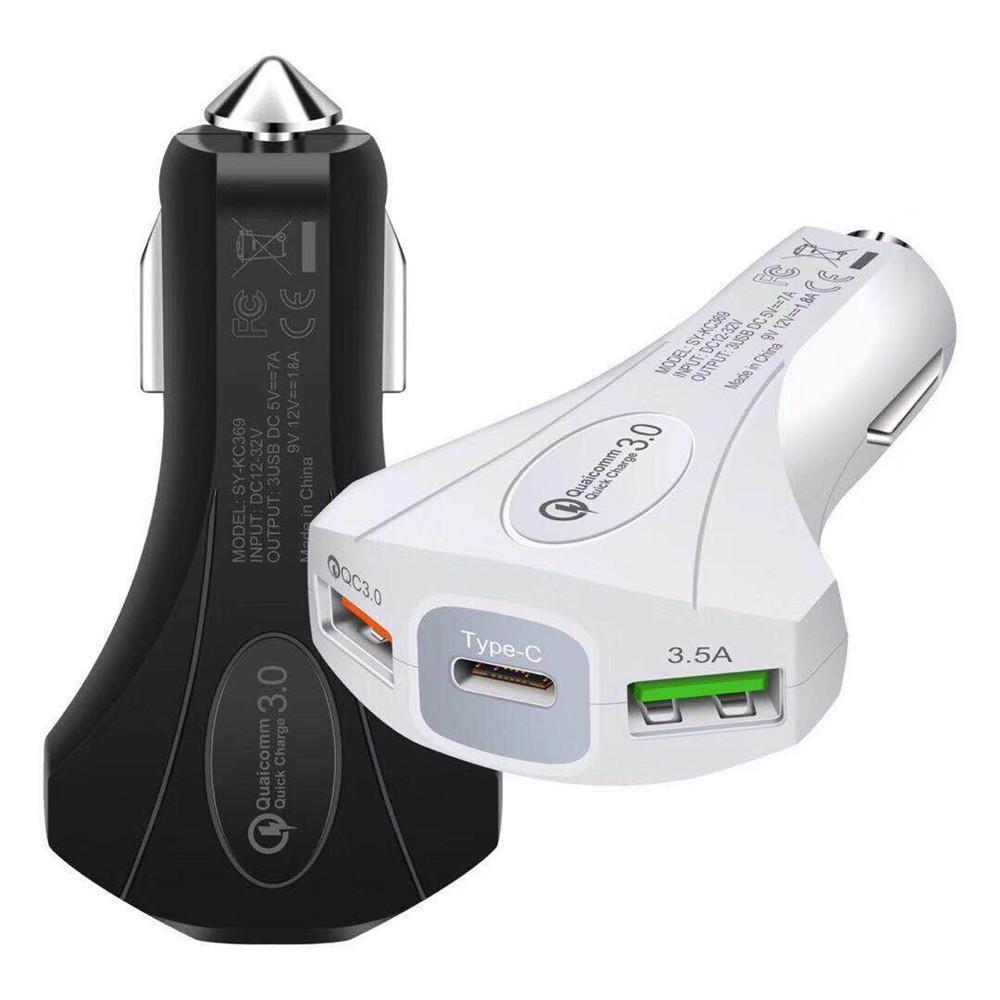 3.0 USB del cargador del coche de seguridad martillo para el teléfono móvil GPS de la tableta cargador rápido del coche-cargador dual del coche del USB cargador del teléfono del adaptador para coche