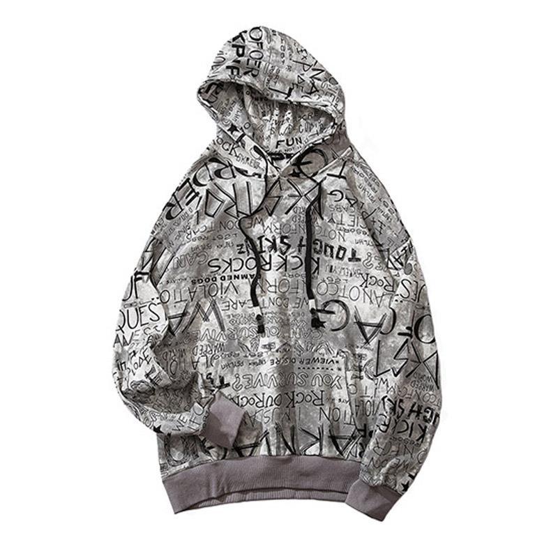 Sweats à capuche pour hommes Sweatshirts 2021 Automne Coton Sweat Shirt Hipster Print Hommes Hip Hop Hood Sweat-shirt Lettres Graffiti Streetwear Harajuku