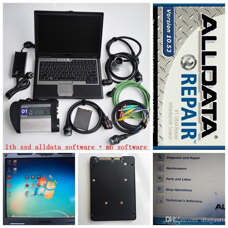 2019 super mb star c4 and alldata 10.53 soft-ware in ssd 1tb with laptop D630 star diagnose for 12v 24v ready to work