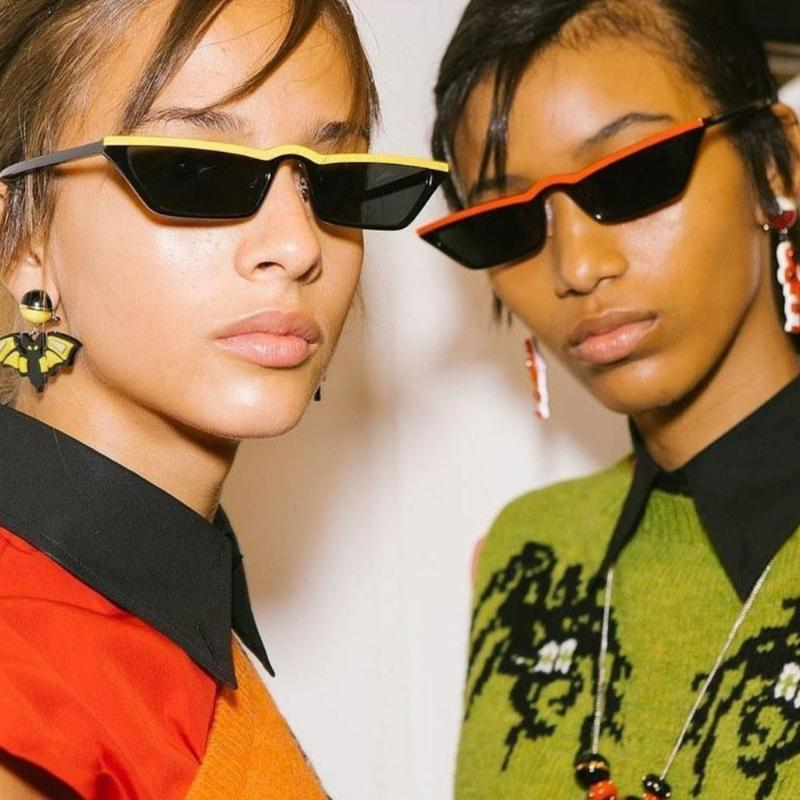 Yamuk Güneş Seksi Kadınlar Güneş Gözlükleri Shades Ünlüler Stil Maker Açık Retro Marka Tasarım Gözlükler Yürüyüş Gözlük