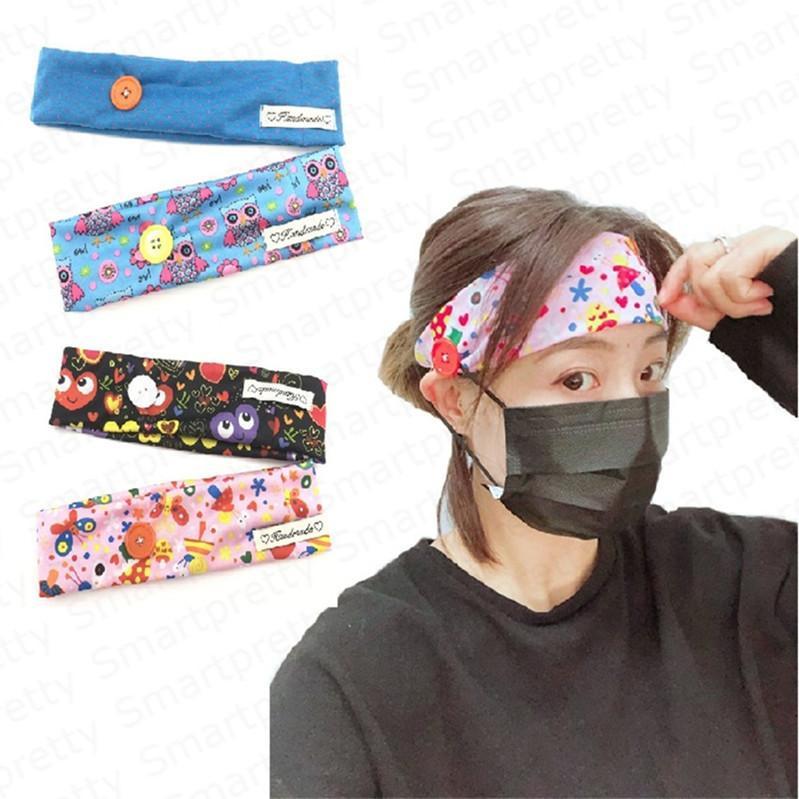 Máscara mulheres Cartoon Face Headband com botão para a orelha Adultos protecção Ginásio de Esportes Hairbands Elastic Hairlace Cabelo Acessórios DHL E4912