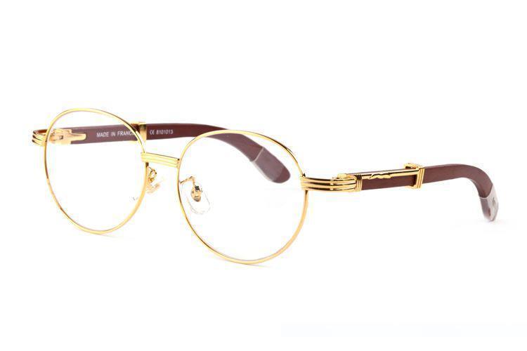 Gros-2019 concepteur de marque corne de buffle noir lunettes hommes lentilles de cercle autour de lunettes cadre en bois de lunettes de soleil de femmes avec boxse