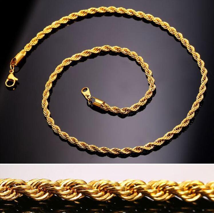 الهيب هوب 18 كيلو الذهب مطلي الفولاذ المقاوم للصدأ 3 ملليمتر الملتوية حبل سلسلة المرأة المختنق قلادة للرجال الهيب هوب المجوهرات هدية في السائبة A0086