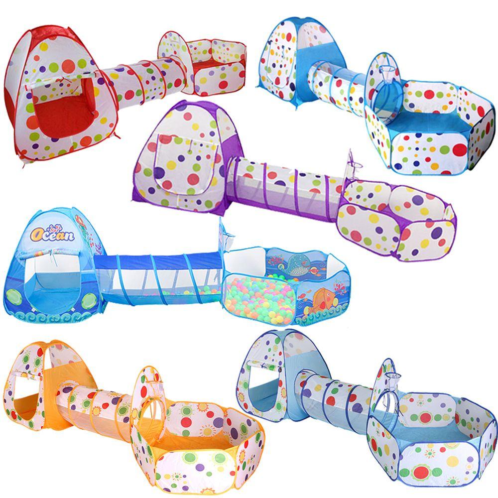 3 en 1 Niños cubierta al aire libre plegable de arrastre del juego Casa del lunar del túnel de disparo regalos Tent bola marina piscina juguetes para niños