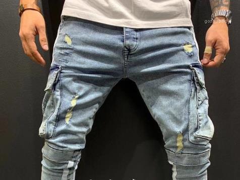 Mens Pants Tendência Estilo Algodão Calças Vestuário Mens calças cargo Moda bolso dos retalhos Buraco Zipper aptidão