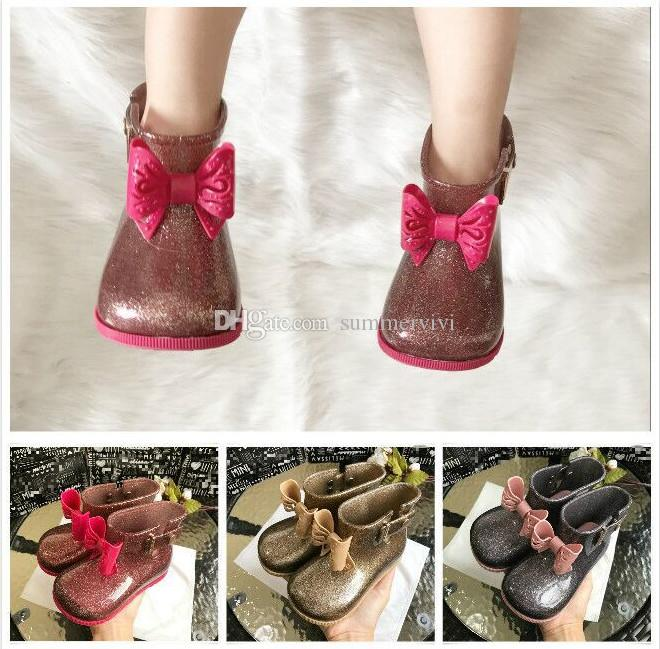 Melissa sequins jelly shoes Baby kids stereo Bows Rain boots girls transparent crystal princess short boots child non-slip water boots F4317