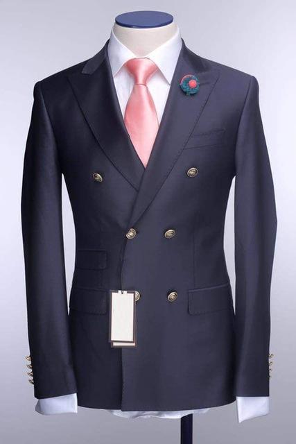 New fashion navy blue Bräutigam Smoking, Hübsche Slim Fit Männer Hochzeit Groomsmen Business Party Prom Anzüge (Jacke + Hose + Krawatte) NO: 633