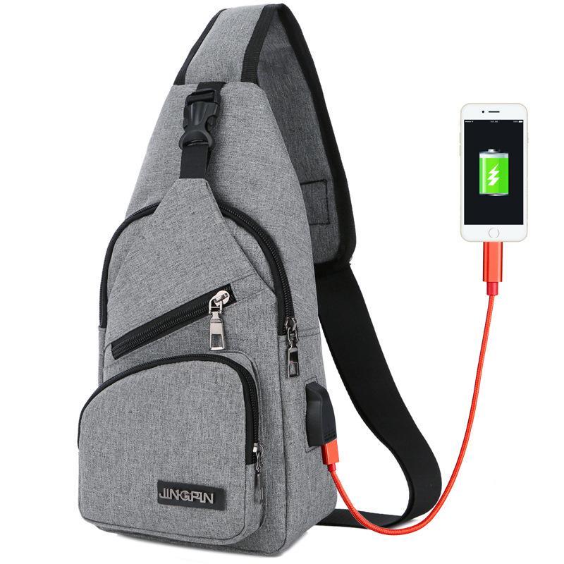 Men Women USB Chest Bags Sling bag Large Capacity Handbag Crossbody Shoulder Bag Moblie Phone Charger For Business Leisure