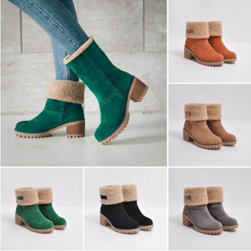 2019 Kadınlar Kış Kar Sıcak Boots Kürk Yeşil Boots Blok Düşük Topuklar Peluş Bilek Patik Ucuz Chunky Ayakkabı Keçe Yüksek Topuklar 5 cm