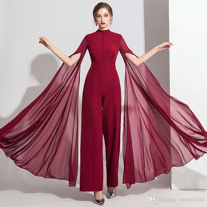 Women Jumpsuit With Long Sleeves Evening Dresses High Neck Elegant Prom Evening Dress Party Zuhair Murad Dress Vestidos Festa